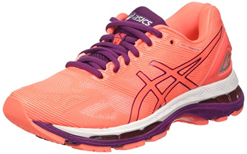 Asics Damen Gel-Nimbus 19 Laufschuhe, Orange (Flash Coral/Dark Purple/White), 37 EU