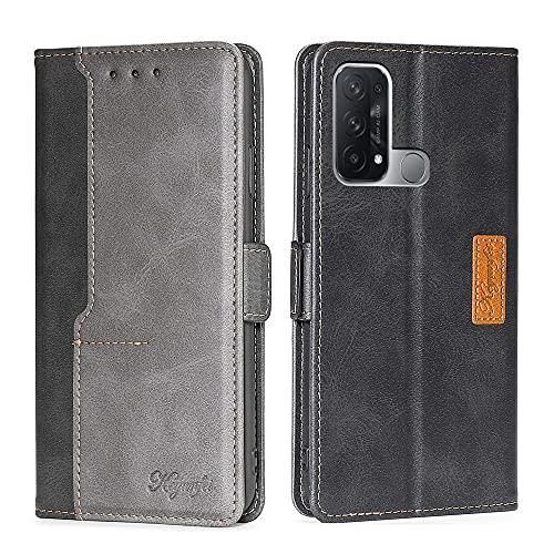 Yiunssy OPPO Reno 5A ケース 手帳型 スタンド機能 カード収納 PUレザー 軽量 落下防止 衝撃吸収 全面保護 財布型 マグネット OPPO Reno 5A 携帯カバー(ブラック+グレー)