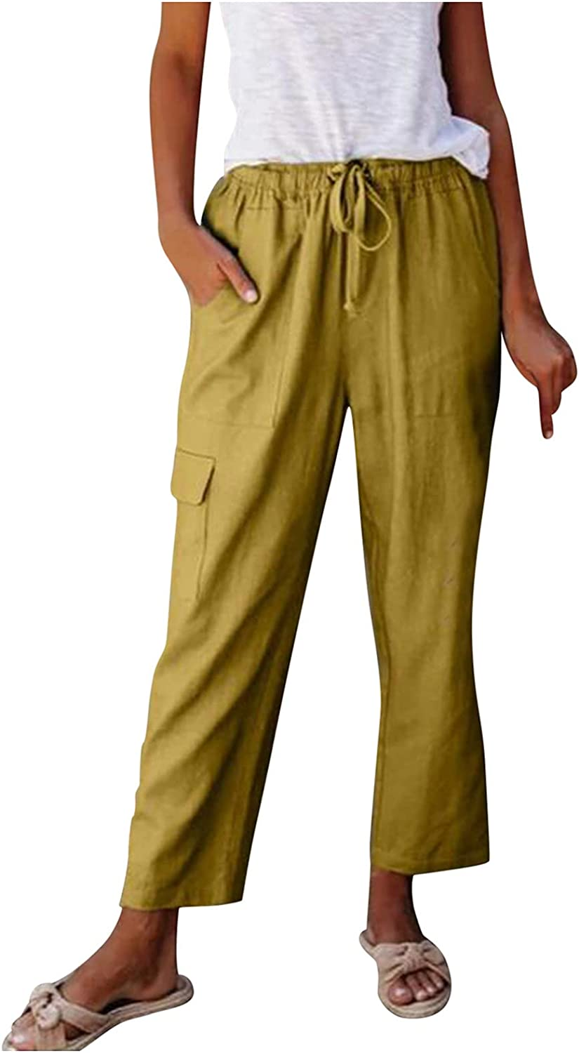 Women's Linen Pants Solid Color Loose Straight Leg Drawstring Waist Casual Pants Cotton Soft Trousers with Pockets
