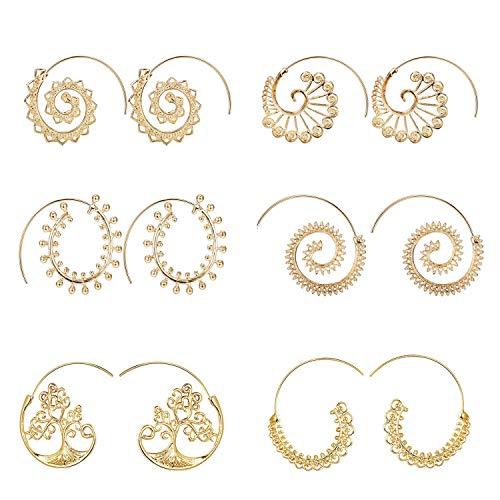 Yadoca 6 Pares Espiral Pendientes De Aro Bohemio Vintage Tribal Swirl Stud Pendientes Set Para Mujer Mujer Oro Plata