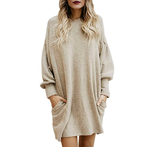 TWIFER Damen Damen Round Collar long Sleeve Pullover beige small / eu 36