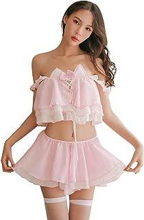 YOMORIO Womens Cute Cat Cosplay Lingerie Lolita Anime Bikini Underwear Chiffon Maid Costume