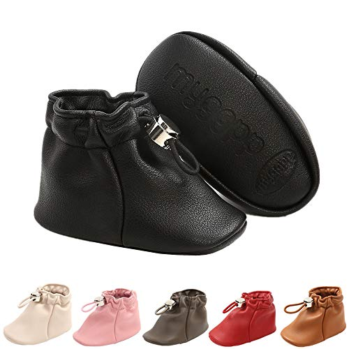 Baby Boots for Infant Boys Girls PU Leahter Soft SoleToddler Stay On Ankle Booties Baby First Walker Shoes(Black,1)