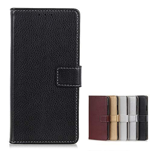 Brieftasche Schutzhülle für LG K52 Hülle mit Kartenfach Etui Standfunktion & Magnetisch Handyhülle Leder Flip Lederhülle für LG K52 (Schwarz)