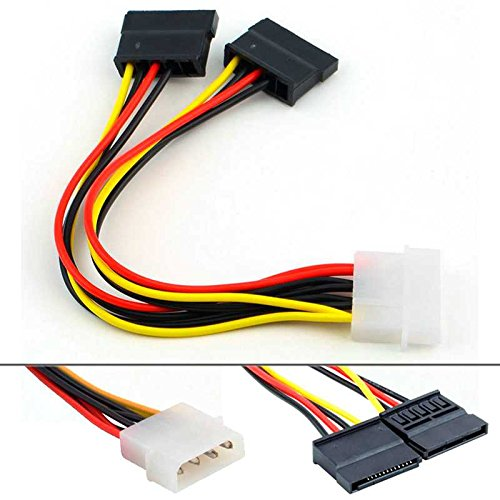 OcioDual Cable IDE Molex a Sata con Doble Adaptador para Alimentar 2 Discos Duros