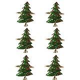 Canghai, set di tovaglioli, con anello di natale, con fibbia a forma di cervo, con tovagliolo di Natale, dipinto a mano, con strass, per cene, feste, feste, matrimoni, Natale, Capodanno, anno
