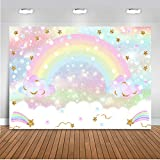 Mocsicka Rainbow Backdrop 7x5ft Pastel Rainbow Birthday Cloud Glitter Stars for Kids' Party Decorations Cake Table Banner Rainbow Baby Shower Photography Background