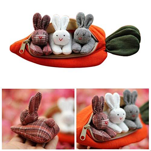 3 Conejitos En Bolso De Zanahoria   Regalo Inspirado En La Primavera para El Cumpleaños De Niña Niño Día De La Madre 7.5 Pulgadas /1PCS