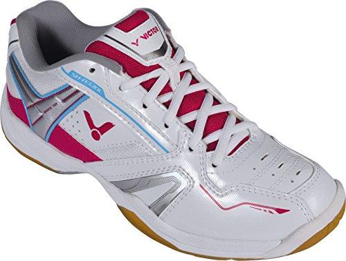 VICTOR SH-A320L Damenschuh / Indoor Sportschuh / Badmintonschuh / Squashschuh / Hallenschuh, Weiß/Pink, Größe 37