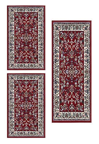 andiamo Klassischer Perserteppich Orientteppich-Ornamente Muster Webteppich Kurzflorteppich Runder Teppich, 100% Polypropylen, Rot, 2x 60 x 110 cm, 1x 60 x 180 cm