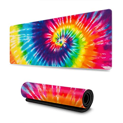 Waldeal Tie Dye Rainbow Colorful Art Print Extra Large Gaming Mouse Pad for Computer