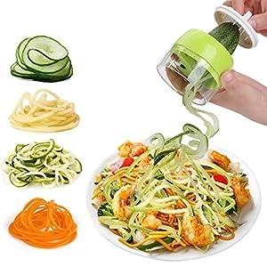 Cortador en espiral WDSUN para espaguetis de verduras, 3 en 1, cortador de verduras en espiral, cortador de verduras para zanahoria, pepino, patata, calabacín, calabacines, cebolla