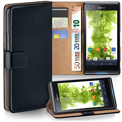 MoEx Premium Book-Case Handytasche passend für Sony Xperia L | Handyhülle mit Kartenfach und Ständer - 360 Grad Schutz Handy Tasche, Schwarz