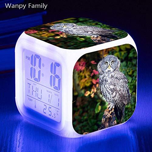 Zhuimin Grappige uil wekker 7 kleuren LED nachtlampje touch-verlichting, touch-gevoelig, cadeau voor kinderen digitale klok met multifunctioneel