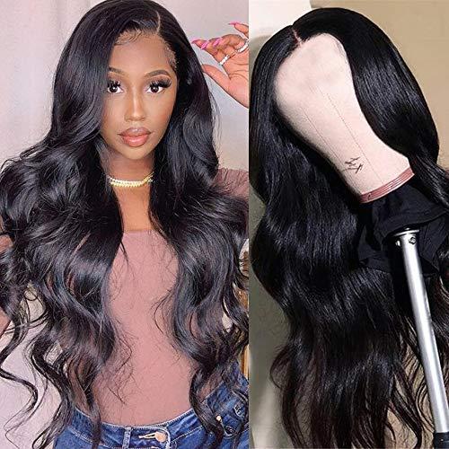 Middelste deel Kanten voorpruiken Menselijk haar voor zwarte vrouwen Braziliaans maagdelijk haar Body Wave Kanten pruik Machinaal gemaakt Lijmloze kanten pruiken 150% dichtheid Natuurlijke kleur (22 inch)