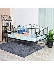 H.J WeDoo Metalowa rama łóżka w stylu wiktoriańskim narzuta na łóżko dla gości sofa łóżko dzienne do salonu sypialni pasuje do materaca 90 * 190 cm czarny