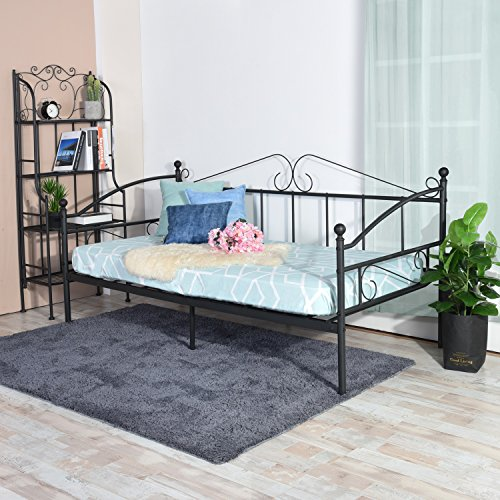 H.J WeDoo Victorian Style Metal Single Day Bed Frame Guest Sofa Bed Daybeds for Living Room Bed Room Fits for 90 * 190 cm Mattress Black