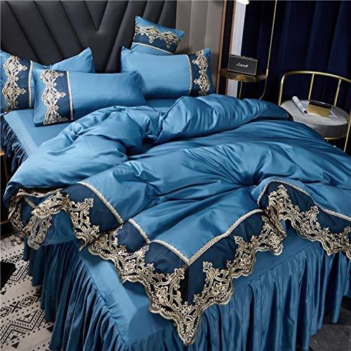 Bedding-LZ -Falda de lecho de Encaje Set de Cuatro Conjuntos de Seda Europea de Gama Alta Princesa de Viento dormitorios Antideslizantes para Hornear-Di_Cama de 2.0 Metros de Cuatro Piezas.