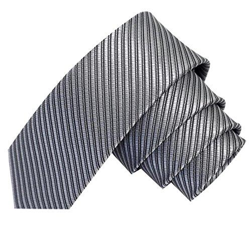 GASSANI Graue schmale dünne 5cm Krawatte gestreift   Skinny Hellgraue Herrenkrawatte zum Sakko Anzug   Schlips Binder einfarbig mit Streifen