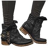 LLDG Stiefeletten damen Biker Boots Combat Stiefel Vintage Biker Boots Retro Kurzschaft westernstiefel Freizeit Chelsea Boots Vintage Knöchelstiefel Cowboy Stiefel mit...