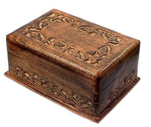 budawi- Holz Box Puzzle Box aus Indien mit geheimen Trick zum öffnen, Schmuckschatulle, Box-Schachtel Schatule Wooden Box