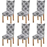 Fuloon 6 Pack Super Fit Stretch Removable Washable Short Dining Chair Protector Cover Seat Slipcover for Hotel,Dining Room,Ceremony,Banquet Wedding Party (Gray/White)