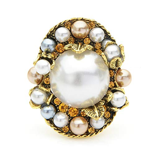 CLEARNICE Retro Palace Style Pearl Flower Brooches Women Elegant Oval Wedding Party Banquet Brooch Pins Gifts