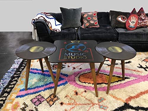 b'home Juego de 3 mesas de madera impresas de fácil montaje multiusos para decoración de café lateral de madera
