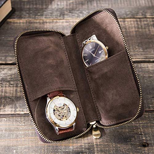 longrep Funda de piel auténtica para reloj, diseño retro de caballo, con cremallera creativa, para parejas, relojes