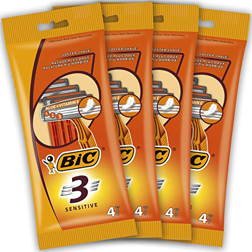 BIC RAZORS 3 Sensitive Rasoi Usa e Getta da Uomo, Confezione da 4 Pacchi a 4 Pezzi