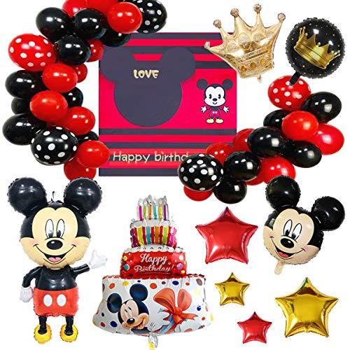 Juego de Globos de Fiesta de Mickey, Suministros de Fiesta Temáticos de Mickey Cartel de Mickey, Decoraciones de Fiesta de Cumpleaños Para Niños, Carteles de Globos Decorativos Colgantes