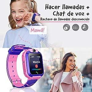 NAIXUES Smartwatch Niños, Reloj Inteligente Niña IP67, LBS, Hacer Llamada, Chat de Voz, SOS, Modo de Clase, Cámara, Juegos, Regalo para Niños de 3-12 años, soporta 2G tarjetáas Micro SIM (Rosa)