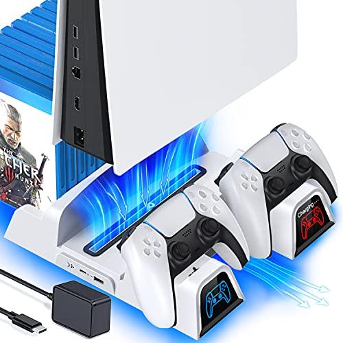 OIVO PS5 Ständer mit Lüfter und EU-Netzteil für Playstation 5 Konsole, PS5 Vertikaler Standfuß mit Kühlung und Controller Ladestation, 12 Spiele Halterung für Sony Playstation 5, weiß