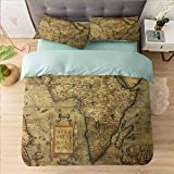 Aishare Store 3 Piece Duvet Cover Set Californai King, Wanderlust,Map of The Africa Retro, Duvet Cover Matching 2 Pillow Shams,Bright Lovely Comforter Cover with Zipper Closure