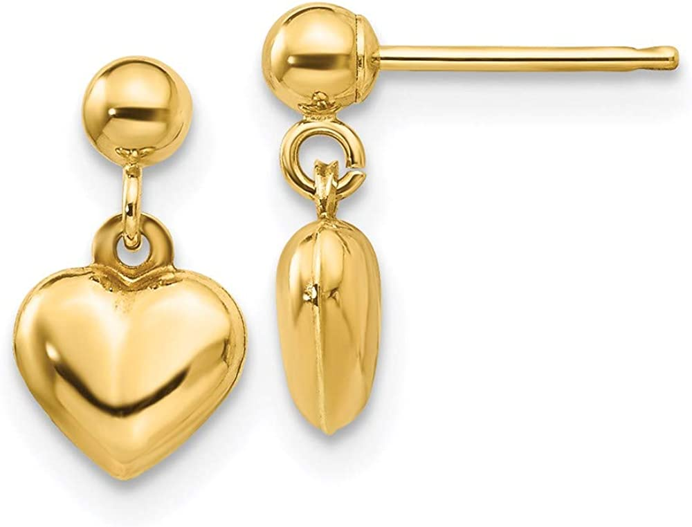14k Yellow Gold Heart Post Stud Drop Dangle Chandelier Earrings Love Fine Jewelry For Women Gifts For Her