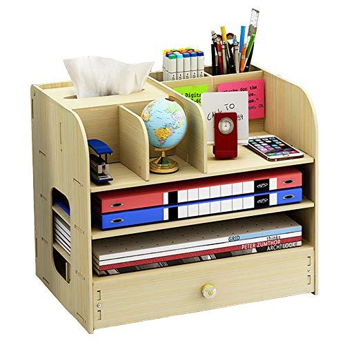 Organizzatore da scrivania, grande organizer da scrivania in legno con cassetto portapenne portapenne per scrivania, ufficio, casa e scuola, 32 x 26 x 22,5 cm (bianco)