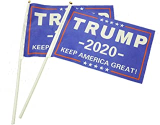 BinaryABC Trump 2020 Hand Waving Flag,Keep America Great Flag,Election Day Decorations,14x21cm,2Pcs