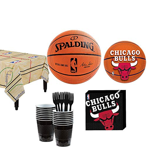 Party City Chicago Bulls Party Kit and Supplies for 16 Guests, Includes Table Cover, Plates and More