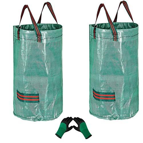 2 x 120 l große Gartenabfallsäcke (H 76 cm, T 45 cm) und 1 Gartenhandschuh, Gartenabfallsack, wiederverwendbarer Gartenabfallsack, wasserdichte Müllsäcke mit Griffen, reißfeste Grassäcke mit Blättern