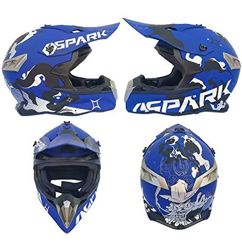 Casco de Motocicleta Niño 5-16 años MJH-02 Blue Spark Integrado Motocross Cascos...
