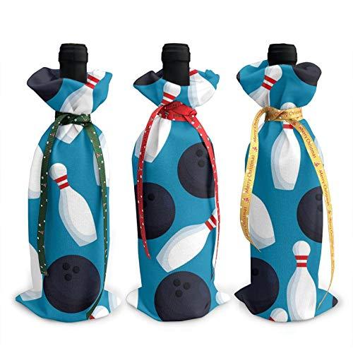 3 schwarze Bowling-Pins für Flaschen und Weinflaschen, Beutel für Weihnachten, Party-Dekoration.