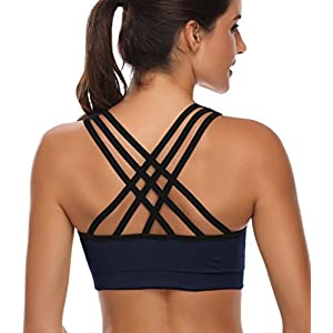 BHRIWRPY Cute Push Up Padded Strappy Sports Bras for Women Comfortable Bra for Activewear Color Black Grey Blue Size M