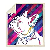 Jacrane Throw Blankets 50X60 Inches Cozy Blankets Year Dog Chinese New Zodiac Bulldog Animal French Cozy Christmas Blanket for Sofa, Couch and Bed