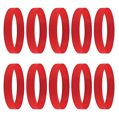 Colcolo 10pcs Braccialetto di Gomma di Silicone Vergine Elastico Adulti Bambini Festa - Rosso