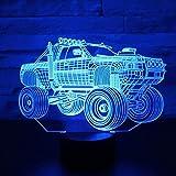 ZWANDP 3D Illusionslampe LED Nachtlicht Panzer SUV Panzerwagen Belichtung mit 7 Farben für Home Decoration Amazing Display