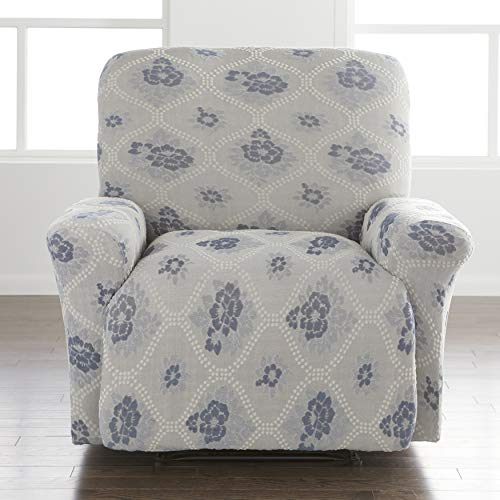 BrylaneHome Floral Stretch Recliner Slipcover, Blue