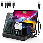 #LightningDeal seenda Wireless Charging Station for Multiple Devices - 6 in 1 USB Charging Dock Built-in AC Adapter with 10W Max Wireless Charger Stand and 5 USB Ports for iPhone, iPad, Android, Apple Watch, AirPods