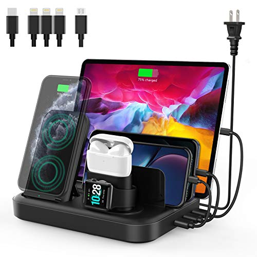 seenda Wireless Charging Station for Multiple Devices - 6 in 1 Charging Dock Built-in AC Adapter with 10W Max Wireless Charger Stand and 3 USB Ports for iPhone, Samsung, Android, Apple Watch, AirPods