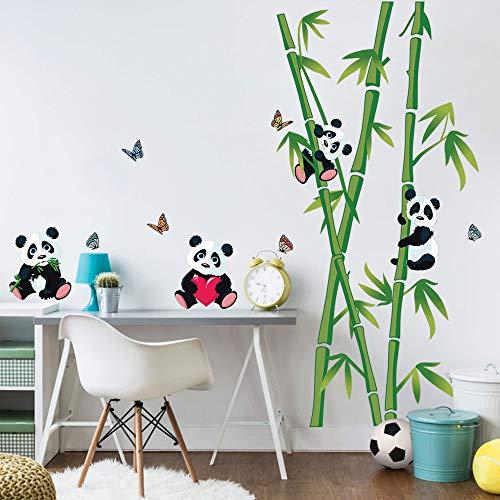 decalmile Pegatinas de Pared Panda Osos Bambú Vinilos Decorativos Infantiles Adhesivos Pared Habitacion Bebés Guardería Dormitorio Cuarto de Jugar