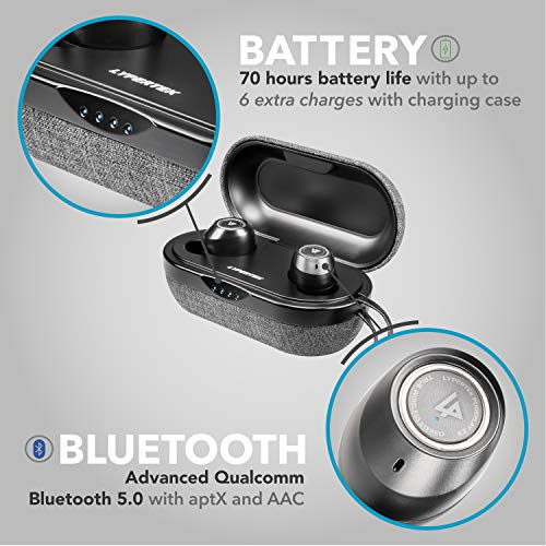 LYPERTEK TEVI - True Wireless Earbuds Bluetooth 5.0 Stereo Hi-Fi Sound Wireless Earphones IPX7 Waterproof Upto 70 Hours Playtime in-Ear Bluetooth Earphones with Charging Case